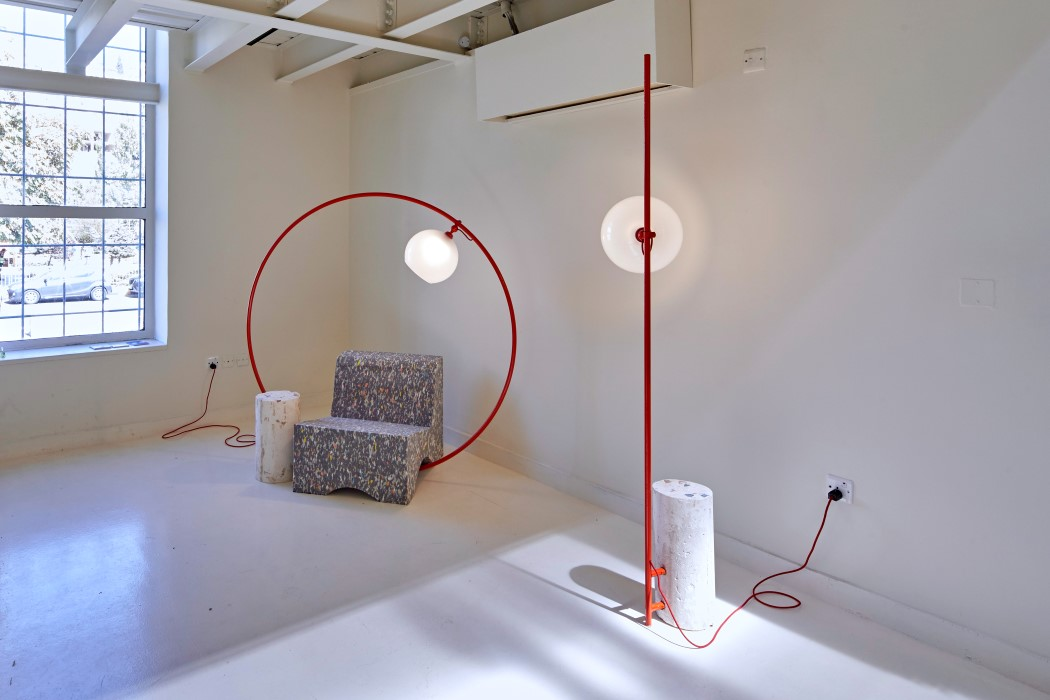 Minimalist Lamp On A Hoop Stuck Inside A Concrete 123 Design Blog